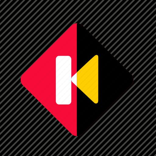 back, backward, media, multimedia button, play icon
