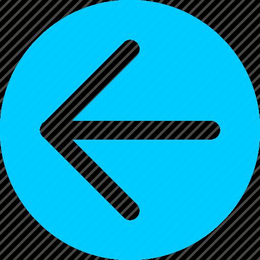 arrow, blue, circle, direction, left icon