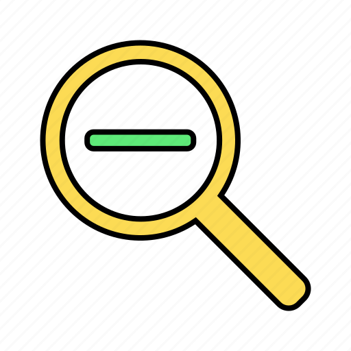 basic, magnifier, ui, zoom, zoom out icon