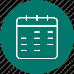 agenda, binder, calendar, month icon