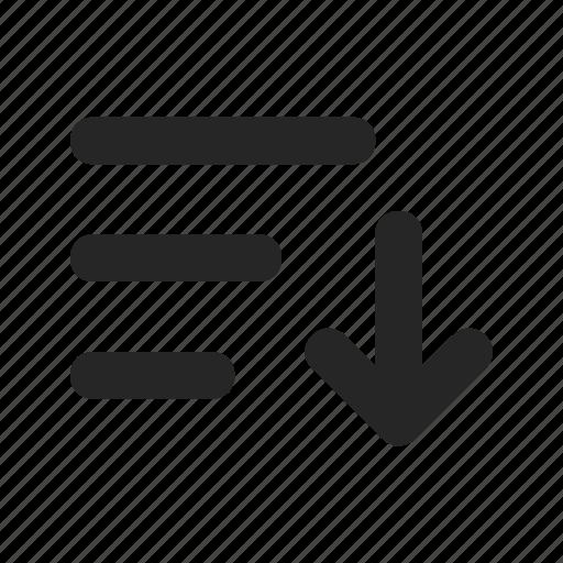 arrow, filter, list, organize, sort, sort descending, sorting icon