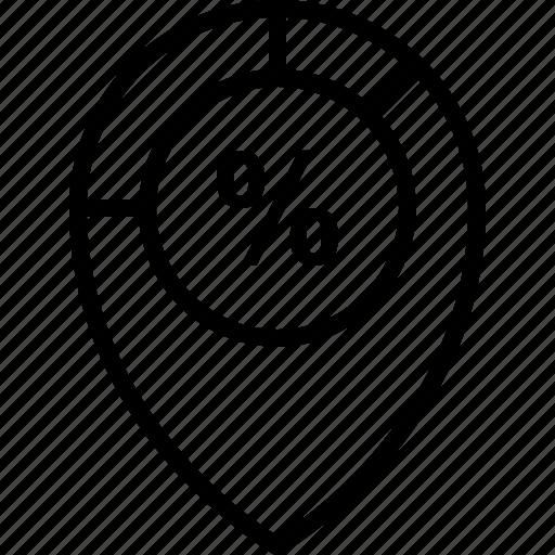center, discount, location, percent, pin icon icon
