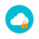 cloud, interface, lock, material design, unlock icon