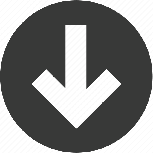 arrow, circle, direction, down, download, move, navigation icon