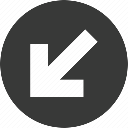 arrow, circle, direction, down, left, move, shape icon