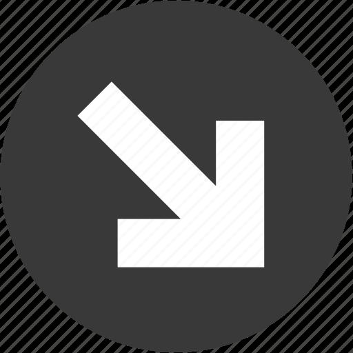 arrow, arrows, circle, direction, down, next, right icon