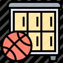 ball, gym, locker, restroom, storage