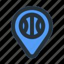 ball, basket, basketball, game, map, pin, place