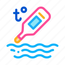 baby, bathrobe, paper, thermometer, tool, towel, water icon