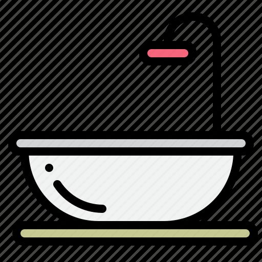 bath, bathroom, bathtub, clean, hygienic, washing icon