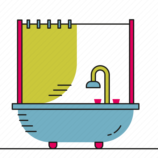 bath, bathroom, furniture, shower, water icon