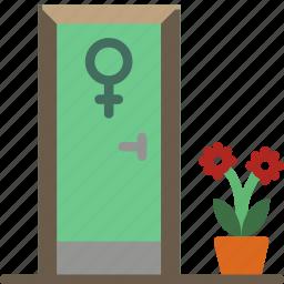 bathroom, ladies, objects, toilet icon