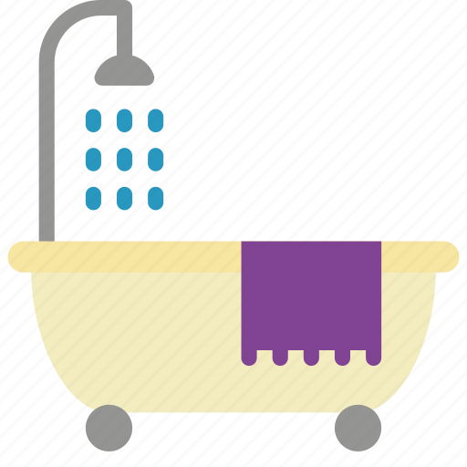 bath, bathroom, objects, shower, with icon