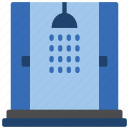 bathroom, cubicle, double, objects, shower icon