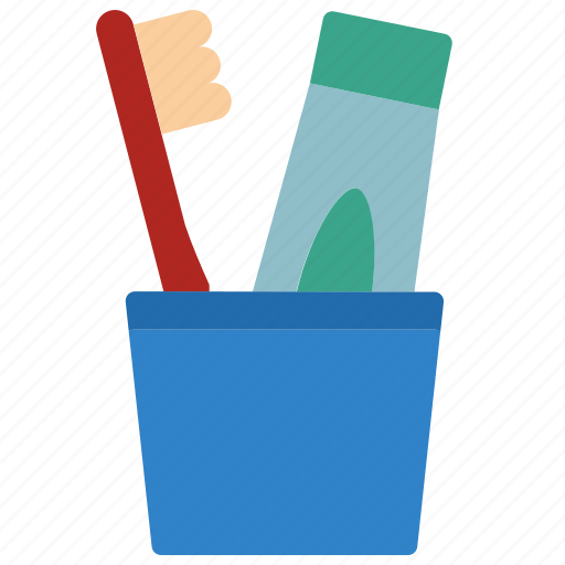 bathroom, holder, objects, toothbrush icon