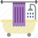bathroom, curtain, objects, shower, with icon