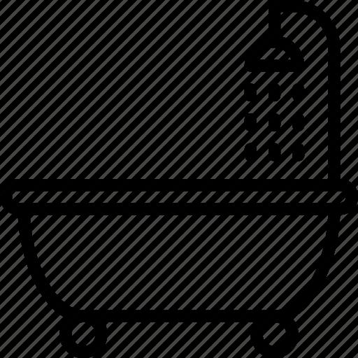 bath, bathroom, bubble, outline, shower icon