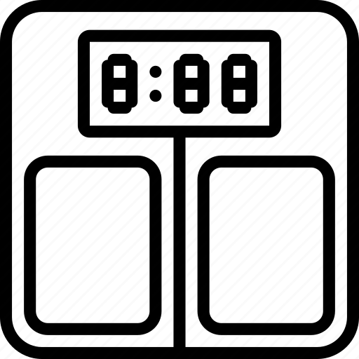 bathroom, digital, measure, outline, scales, weight icon