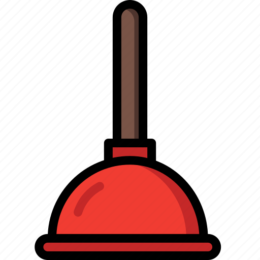 bathroom, cleaning, color, plumbing, plunger icon