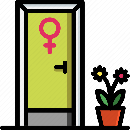 bathroom, color, door, ladies, toilet icon