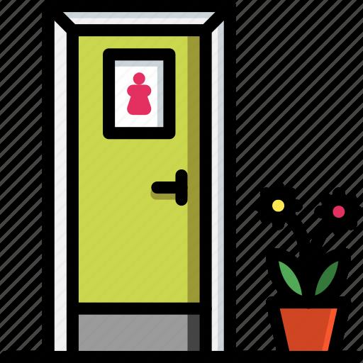 bathroom, color, door, ladies, toilet icon