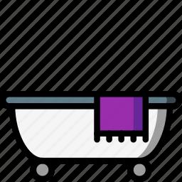 bath, bathroom, objects, restroom, towel, tub icon