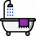 bath, bathroom, color, restroom, shower icon