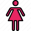 bathroom, color, female, sign icon