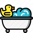 bath, bathroom, color, duck, toy icon