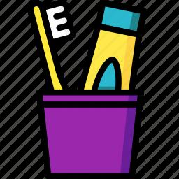 bathroom, color, dental, holder, hygiene, toothbrush icon