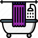 bath, bathroom, color, curtain, shower, tub icon