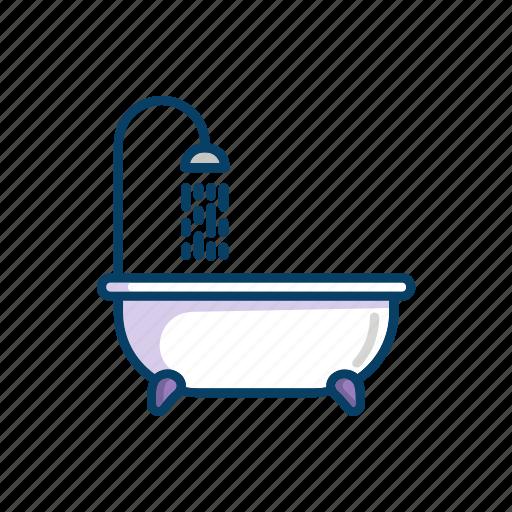 bathroom, bathtub, line, running, shower, thin, water icon