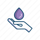 bathroom, drop, hand, line, thin, water icon