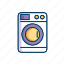 bathroom, line, machine, thin, washing icon