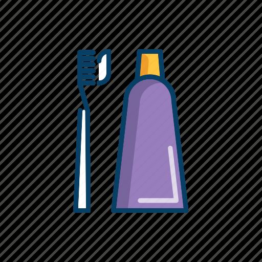 bathroom, line, thin, toothbrush, toothpaste icon