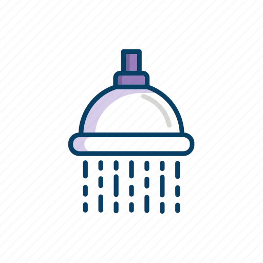 Shower, bathroom, water, thin, flowing, line icon