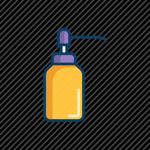 bathroom, bottle, line, pump, soap, thin icon