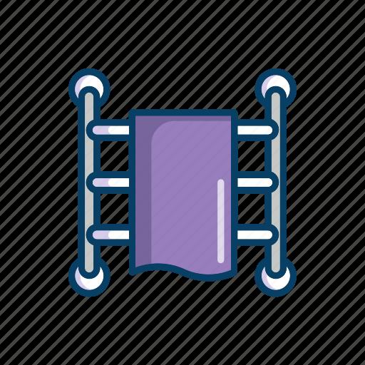 bathroom, heated, line, rail, thin, towel icon