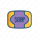 bar, bathroom, line, soap, thin icon