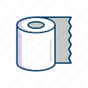 bathroom, line, paper, thin, toilet icon
