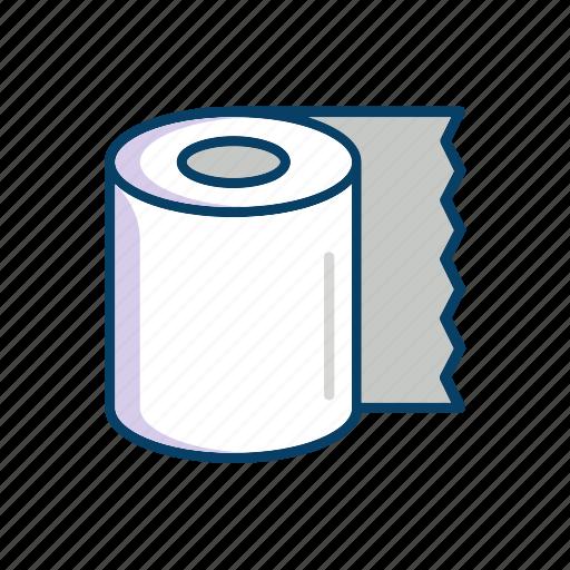 bathroom, line, paper, thin, toilet icon