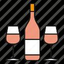 alcohol, beverage, bottle, champagne, drink, glasses, wine