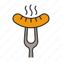 bbq, cooking, food, fork, hot, meat, sausage icon
