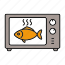 baking, cooking, fish, grilling, microwave, oven, seafood icon