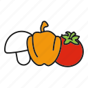 champignon, food, mushroom, pepper, tomato, vegetable, vegetables icon