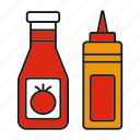 bottle, condiment, food, ketchup, mustard, sauce, seasoning icon