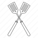 crossed, line, metal, outline, spatula, thin, utensil icon
