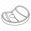 beef, food, line, meat, outline, steak, thin icon
