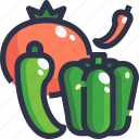 chilli, spicy, tomato, vegetables icon