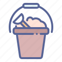 beach, bucket, sand, summer icon